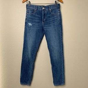 Express Jeans Size 2 Vintage Skinny Ankle High Rise Button Fly Denim Stretch